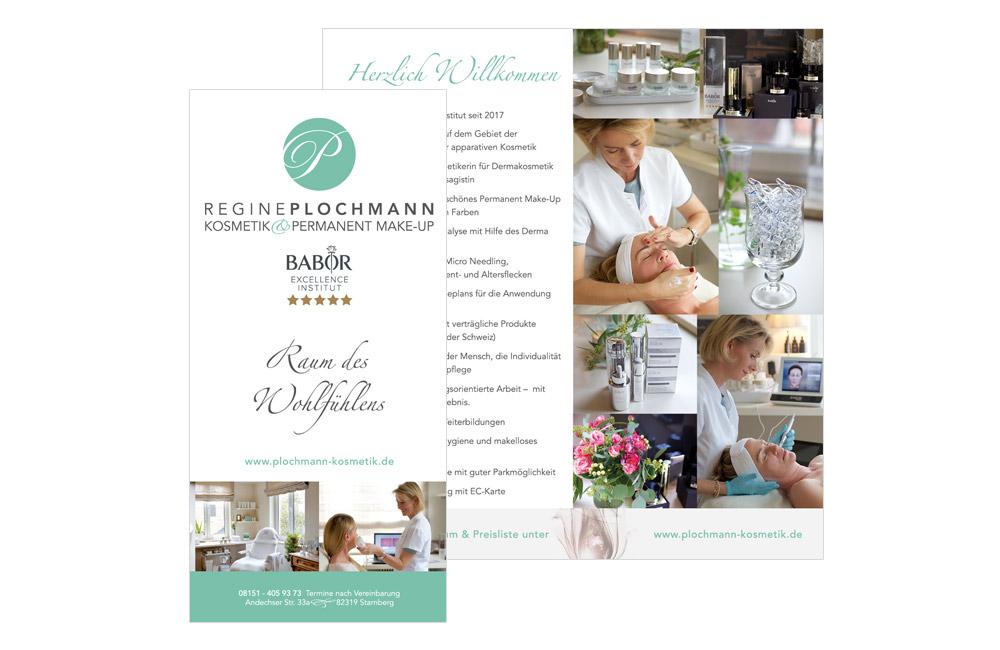 Layout Faltblatt Kosmetikstudio Plochmann Starnberg