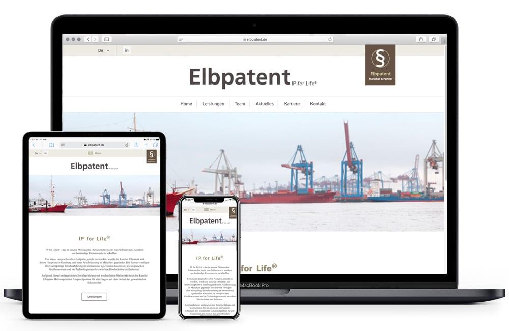 Elbpatent Hamburg und München | Projekt Homepage